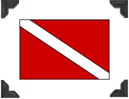 red flag with white diagonal stripe, international symbol for divers